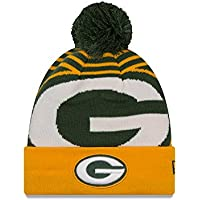 A NEW ERA &apos Green Bay Packers NFL Logo Whiz 2 Cuffed Knit Hat Sombrero with Pom