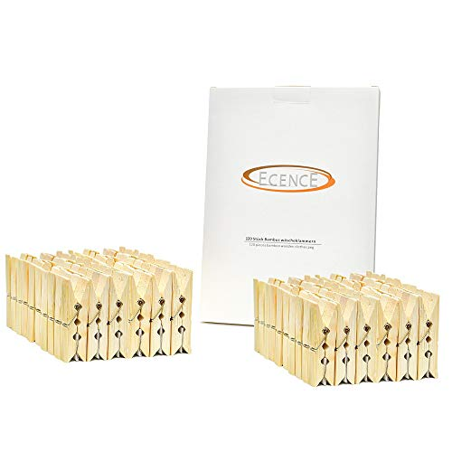 ECENCE Pinzas de bambú para la Ropa, 120 Unidades, 60 x 12.5 x 11mm, Pinzas para Manualidades, Pinzas...
