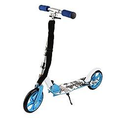 Idea Regalo - Homgrace Monopattino Scooter Pieghevole per Bambini a 2 Ruote con Altezza Regolabile 95-106cm, Carico 100KG (Blu)