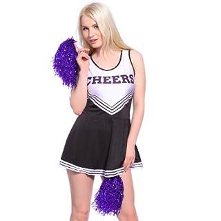 Anladia Dame Cheerleader Kostüm Mädchen Cheerleading Kleid Cheer Uniformen mit 2 Pompoms Fasching Karneval Halloween Kostüm