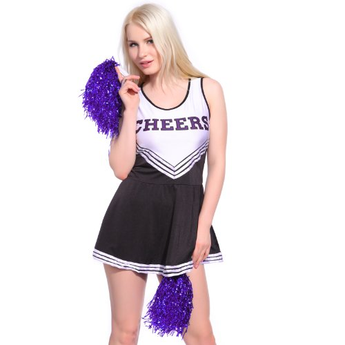 Anladia Dame Cheerleader Kostüm Mädchen Cheerleading Kleid Cheer Uniformen mit 2 Pompoms Fasching Karneval Halloween Kostüm