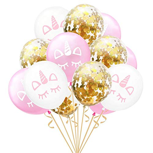 s - 2019 15pcs 12 Inches Rose Gold Confetti Balloon Unicorn Party Decoration Latex Balloons Birthday - Balloon Ballons Equipment Plastic Chain Goop Accessories Balloons ()