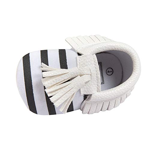 Alwayswin Baby Mädchen Jungen Fransen Babyschuhe Weichen Boden rutschfeste Kleinkindschuhe Weichen Boden Streifen Babyschuhe Mode Slip-On First Walkers Kid Schuhe Bequem Schuhe - Inspiriert Flachen Schuh