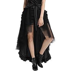 Falda Mujer Midi de Cóctel Gótica Plisada con Pliegues Victoriana Negro M