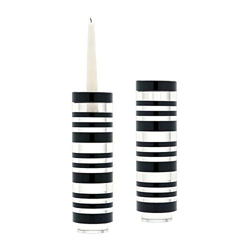 Sliced Tuxedo Crystal Candleholder - Large. Set Of 2 Crystal Lazy Susan