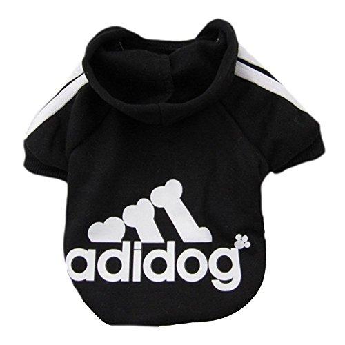 Moolecole Adidog Haustier Hund Kapuzenpullis Pullover Kleider Welpe Katze Winter Warm Kapuze Mantel Kleidung Hoodies Schwarz(XXL)