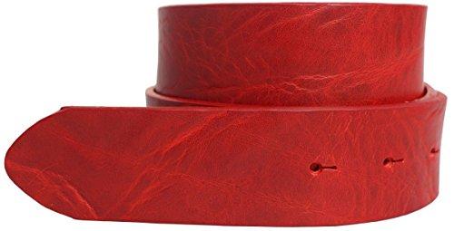 Vollrindleder-gürtel (Wechselgürtel aus Vollrindleder im Used-Look ohne Schließe 4,0 cm Vollrindleder Leder 4cm marine Rindsleder Gürtel Used wechsel, Bundweite 110, Rot)