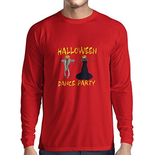 Camiseta de Manga Larga para Hombre Disfraces Fiesta de Danza de Halloween Eventos Traje Ideas (Large Rojo