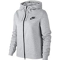 Nike W NSW OPTC Hoodie FZ Chaqueta, Mujer, Gris (dk Grey Heather/Black), M