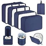 Newdora Packing Cubes, 8 teilig Packwürfel, Kleidertaschen für Koffer Kleidung Kosmetik Schuhbeutel Kabel Aufbewahrungstasche, Kofferorganizer Reise Würfel für Urlaub, Flugreisen, Schwarzblau