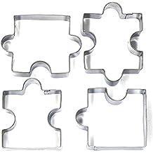 Kebinfen 4 PCS Rompecabezas en forma de cortador de la galleta de la galleta de la hornada Cortadores herramientas del molde