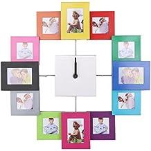 Reloj Pared Moderna Marco De Fotos Familia Colorido Decoración Hogar