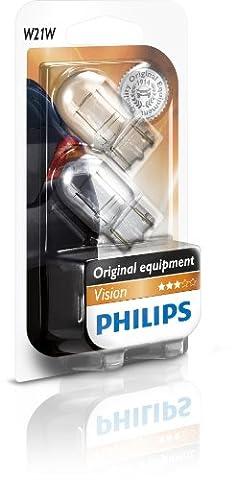 Philips 12065B2 Lot de 2 ampoules à culot en verre Vision W21W sous blister