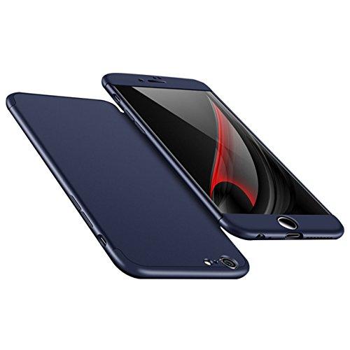 iPhone 6 Plus Hülle, 3 in 1 Ultra Dünner PC Harte Case 360 Grad Ganzkörper Schützend Anti-Kratzer Schutzhülle Vollschutz Hülle für Apple iPhone 6 Plus / 6S Plus 5.5 zoll Fall Premium mattierte Schutzh Blau