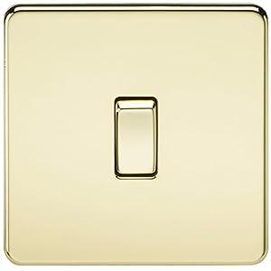 Knightsbridge SF2000PB Screwless 10 A 1 Gang 2 Way Switch, 230 W, 230 V, Polished Brass