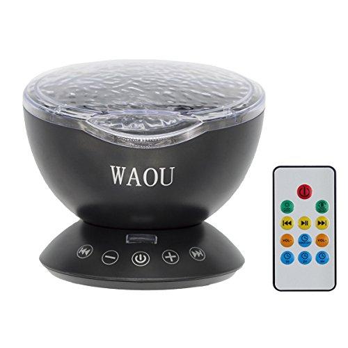 WAOU Ozeanwelle Projektor LED Nachtlicht Entspannende beruhigende Welle LED-Deckenleuchte mit Lautsprecher und Fernbedienung für Wohnzimmer Schlafzimmer (Party Elmo Dekorationen)