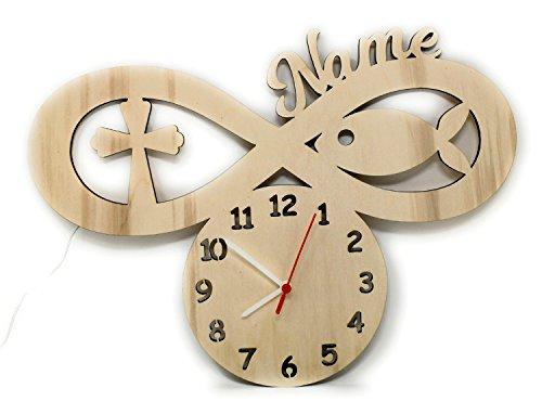 Schlummerlicht24 In Liebe zu Gott - Das Geschenk zur Kommunion mit Name - Fisch Kreuz Symbol Uhr und Nachtlicht