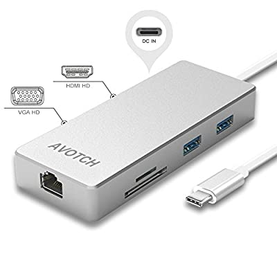 USB-C Digital AV Multi-port Adapter, AVOTCH USB C Hub ?3.1 Type C Hub with Power Delivery for Charging, HDMI VGA Dual screen display Output, Card Reader, 2 USB 3.0 Ports and Gigabit Ethernet Adapter from AVOTCH