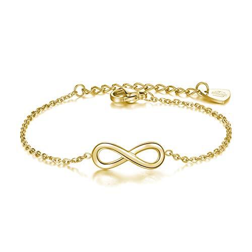 URBANHELDEN - Armband Endless - Hochwertiger Armschmuck - Edelstahl Armkette mit Unendlichkeitszeichen - Damenarmband Schmuck - Infinity - Gold (Infinity Gold Armband)