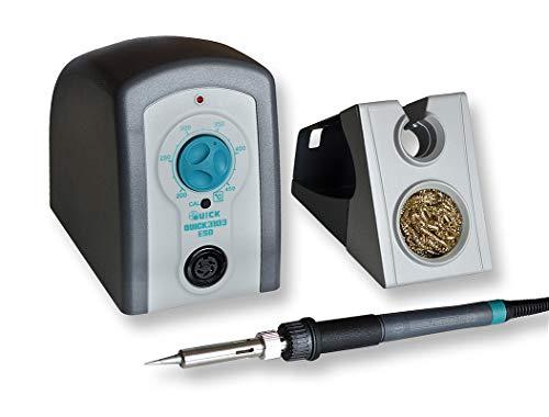 QUICK 3103 analoge ESD Lötstation 80W, 230V inkl. multifunktionalen Ablageständer, Silikonpad, Trockenreiniger, 200 °C bis 450 °C