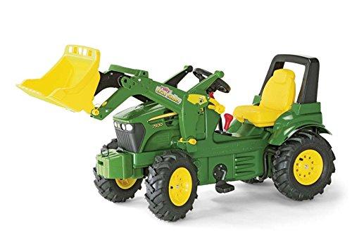 Trettrecker Rolly Toys 710126 rollyFarmtrac John Deere 7930 | Traktor mit abnehmbarem Lader | Trettraktor mit 2-Gangschaltung und Bremse, Luftbereifung; Sitzverstellung | ab 3 Jahren | Farbe grün