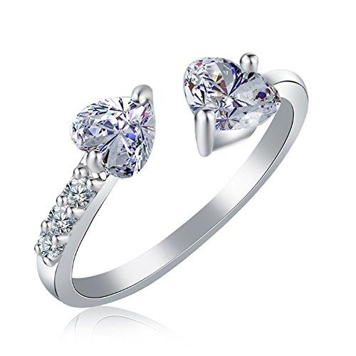 Doppelte Öffnung (AIUIN 1pcs-Ring Silber Größenverstellbar Herz Strass Ring Doppelte Öffnung Schmuck und Zubehör (mit Einer Handtasche von Schmuck) Silber)