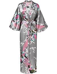 f704ae153f BABEYOND Silk Satin Kimono Dressing Gown Peacock Kimono Robe For Women Silk  Wedding Girl s Bonding Party