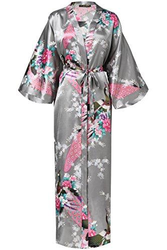 BABEYOND Damen Morgenmantel Maxi Lang Seide Satin Kimono Kleid Pfau Muster Kimono Bademantel Damen Lange Robe Schlafmantel Girl Pajama Party 135cm Lang (Silber Grau) Satin Kleid-kleid
