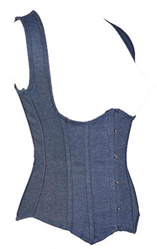 Lotus Instyle Riemchen Brokat Unterbrust Korsett Lace up zur¨¹ck Shapewear Blue