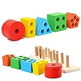 XYRONG Puzzle frühe Bildung Bausteine Spielzeug Holz Farbe geometrische Form Set Säule passende Board Set Kinder frühe Bildung