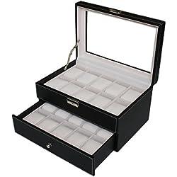 Leder Uhrenbox 20 Uhren mit Sichtfenster Uhrenvitrine Uhrenschatulle