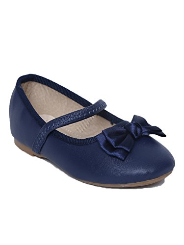 My Lil Berry Navy Blue Bow Top Mary Jane For Kids|Grils