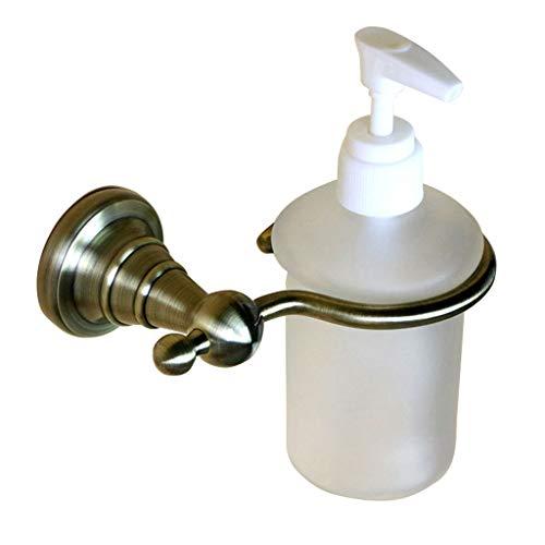 JKL Seifenspender Seifen- und Lotionspender mit gefrosteter Flasche, Messinghalterung in polierter Chromoberfläche zur Wandmontage, 11,3x11x19,6 cm -