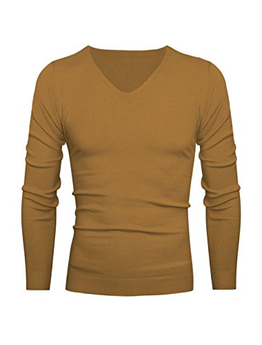 Hommes Col V Pull-over Slim Manches Longues Tricot Chemise Ocre