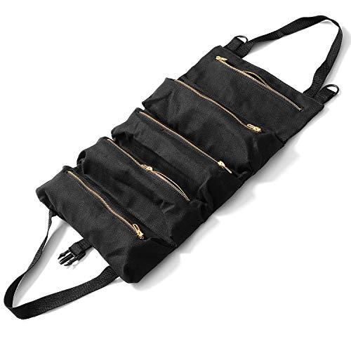 Werkzeugtasche mit 5 Fächern Werkzeugbeutel Ideal für Zuhause Auto Robuste Strapazierfähige Konstruktion Transporttasche, Schwarz