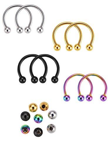 8 pezzi piercing ad anelli naso a ferro di cavallo cerchio di naso con 8 pezzi palle multi-funzionale anelli piercing ad corpo, 4 colori