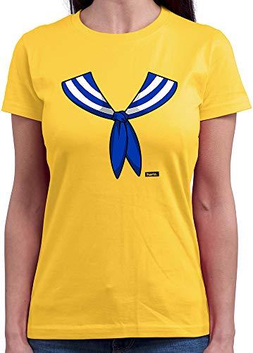HARIZ  Damen T-Shirt Rundhals Matrose Kragen Kostüm Karneval Verkleidung Plus Geschenkkarte Gold Gelb M