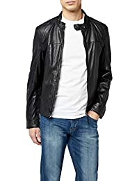 Kings on Earth Herren Echtlederjacke Rash Slim Fit