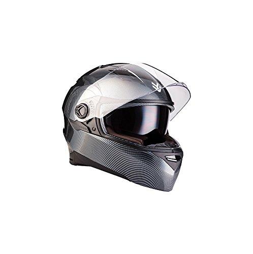 """ARMOR · AF-77 """"Carbon"""" (Grau) · Integral-Helm · Cruiser Roller Scooter-Helm Sport Sturz-Helm Full-face · ECE certified · Separate Visors · Click-n-Secure™ Clip · Tragetasche · S (55-56cm)"""