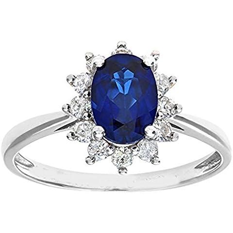 mglmahi 9ct oro bianco blu zaffiro e diamante cluster Anello