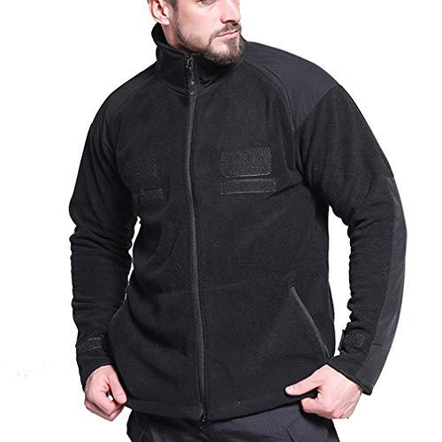 CIKRILAN Herren Outdoor Thicken Thermal Fleece Jacket Bodywarmer Full Zip Long Sleeve Casual Warm Polar Fleece Coat (L, Black) Long Sleeve Polar Fleece