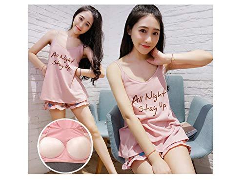 Cute Sexy Pajamas 2 Pieces Sets 2018 Summer Women Shorts V-Neck Sleepwear Printed Tank Top Lining Bra Cotton Pajama Set Homewear Letterpink XL