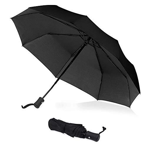 Bigmeda Parapluie Automatique, Parapluie de a 8 côtes, Parapluie Pliant, Durable, Coupe-Vent, Étanche, Portable dans des Sacs [Noir]