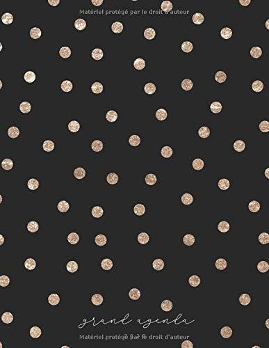 Grand agenda 2020: Agenda de Janvier 2020 à Décembre 2020, Semainier grand format 21x28cm, simple & graphique, idéal prise de rendez-vous, série Gold, noir et pois or par YesOuiPages