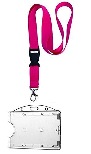 Waizmann.IDeaS® –Set de identificación con cinta para el cuello de 20 mm con hebilla + portatarjetas horizontal con funda protectora, ideal para portar tarjetas de identificación, llaveros, identificación de empresa, billetes, tarjeta de socio, identificación escolar, tarjeta bancaria, tarjeta de crédito, color Lanyard Pink