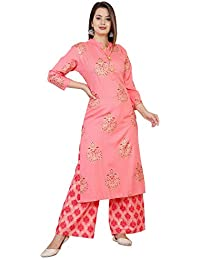 Radhika Fashion Women's Printed A-Line Kurta and Palazzo Set