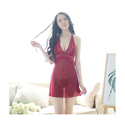 Jiabei Europäische und amerikanische Damen Perspektive Sexy Dessous Lace Stitching Sling Sling transparent Mesh Nachthemd Pyjamass (Farbe : Weinrot) (Exotische Göttin Sexy Kostüm)