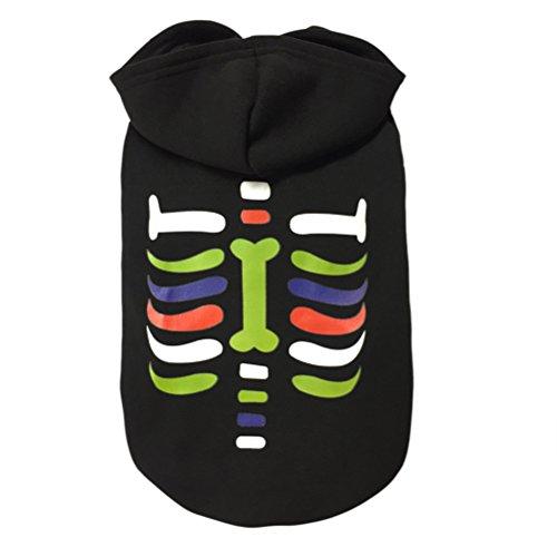 NICERIO Mode Hund Welpen Kleid Rock Pet Sommer Kleidung Weste Shirts Halloween Party Weihnachtsgeschenk Größe S (Skeleton)