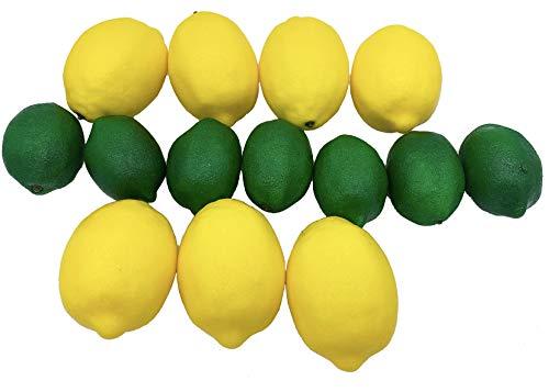 Dasksha lebensechte künstliche Zitronen und Limetten, 14 Stück, große Zitronen und kleine Limetten, 7 künstliche Limetten und 7 künstliche Zitronen, realistische künstliche Früchte zur Dekoration (Künstliche Limetten Und Zitronen)