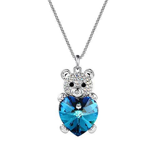 Ciondolo xuping collana swarovski, collana in argento per donna, collana di panda, pendente con animali, regalo (blu)